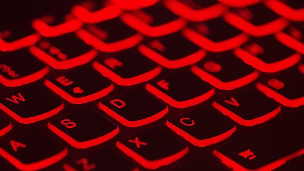 Keyboard backlit in red